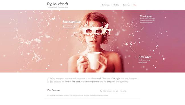 Homepage de Digital Hands