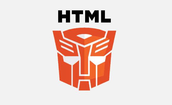 Logo de HTML5 con transformer en lugar del 5