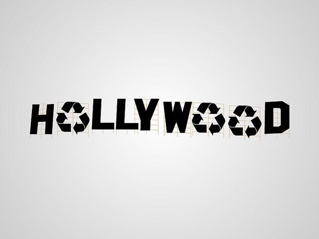 Logo de Hollywood con signos de reciclaje en lugar de o´s