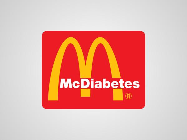 Logo de McDonalds dice McDiabetes