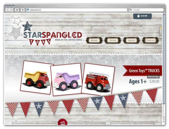 Página de inicio del sitio de Starspangled Toys