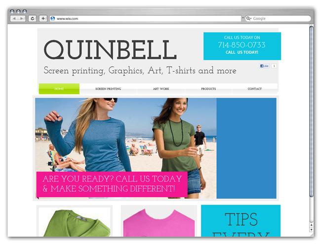 Sitio Wix de Quinbell screenprinting graphics