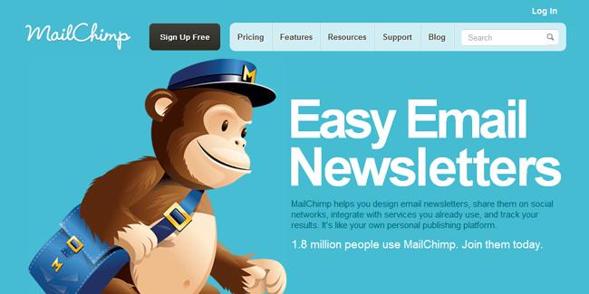 Página de Inicio de Mail Chimp