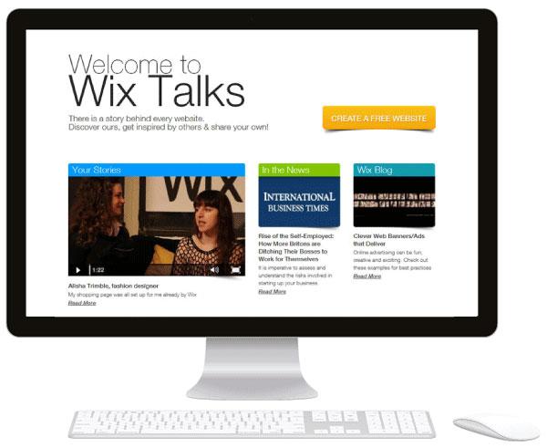 Monitor con la página de inicio de Wix Talks
