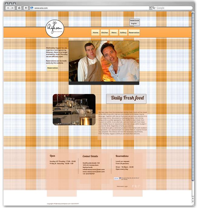 Sitio Web de Restaurant Rijksen, Holanda