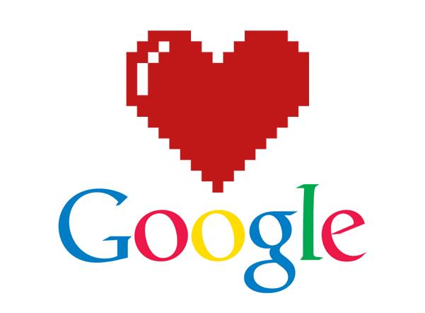 Logo de google y un corazón