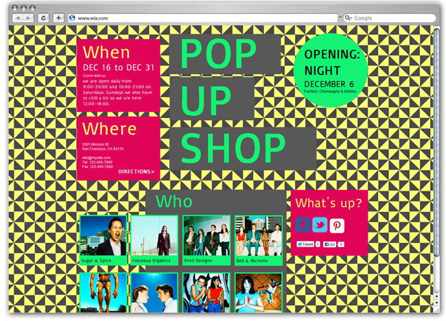Plantilla Wix de Pop Up Shop