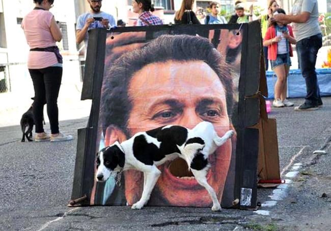 Perro orina sobre la foto de un hombre