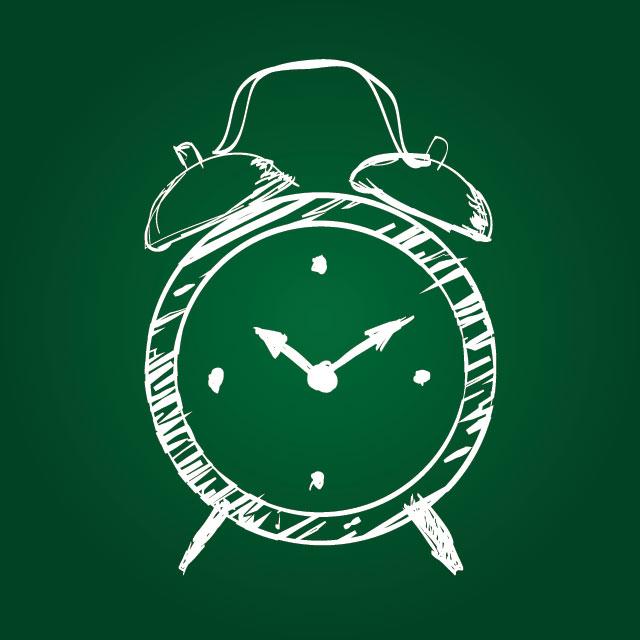 Reloj dibujado sobre pizarrón