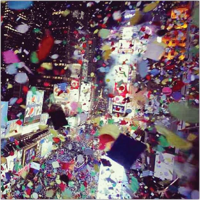 Confeti sobre Times Square