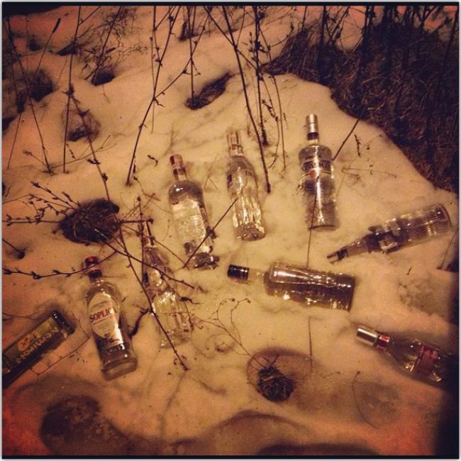 Botellas de alcohol en la nieve