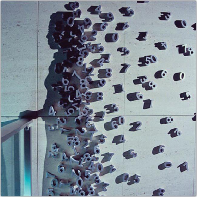 Arte representando una persona hecha con números