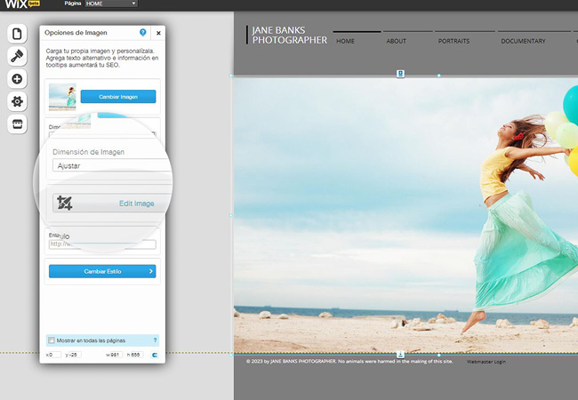 Nuevo editor de imágenes en Wix