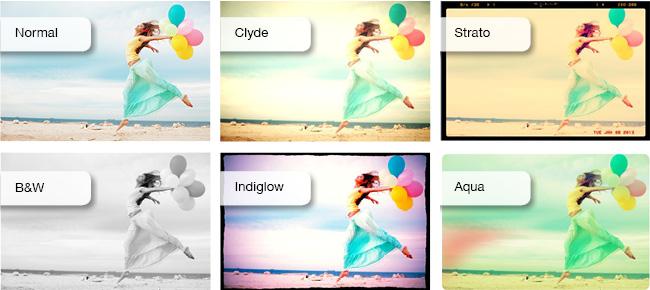 Diferentes efectos del editor de imágenes