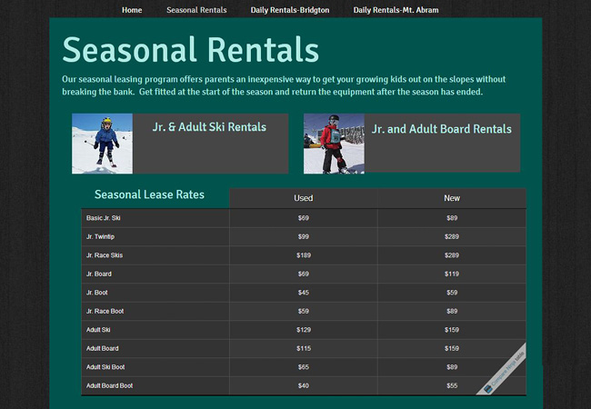 Sitio Web Seasonal Rentals