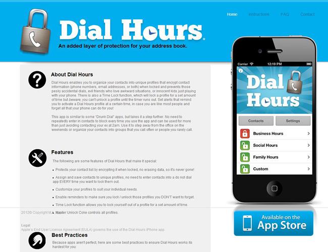 Sitio web donde se ve la imagen de un iPhone donde está corriendo la aplicación