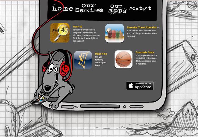 Sitio web donde se ve una caricatura de un perro usando audifonos rojos