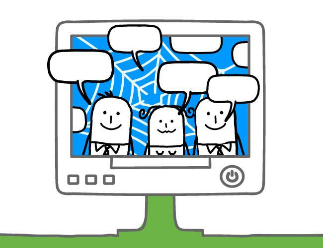 Ilustración de tres hombres dentro de una pantalla.