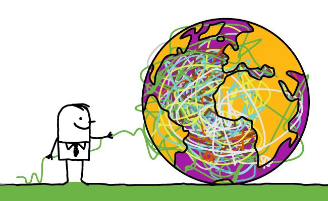 Ilustración de un hombre con un globo terraqueo mas grande que él