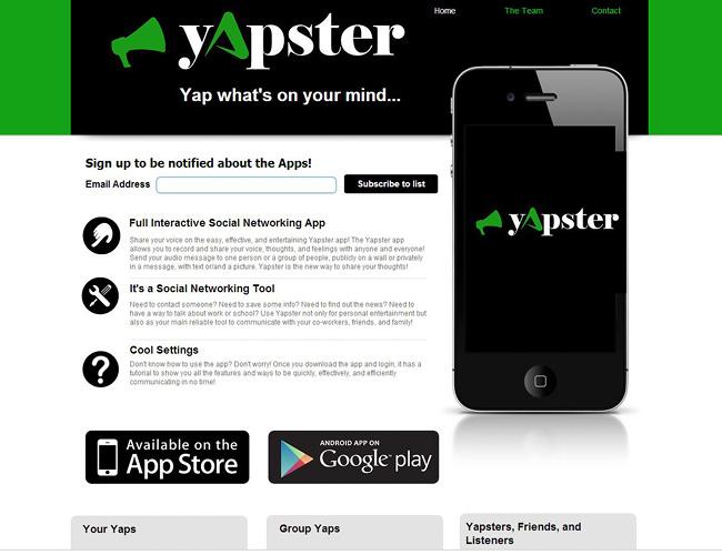 Sitio web sobre aplicación para moviles. Se ve un iPhone en primer plano