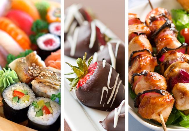Collage de imagenes de comida. Sushi, postres y varitas de pollo.