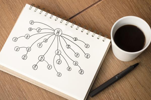 Cuaderno con una planificación de redes de contactos dibujada en su hoja. Taza de café al lado del cuadero. Vista aerea