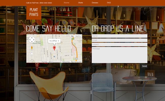Captura de pantalla de uns página web con un mapa y un formulario de contacto