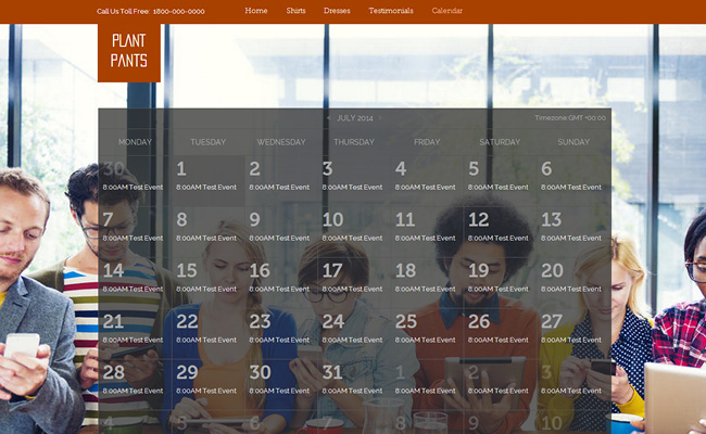 Captura de pantalla de un calendario