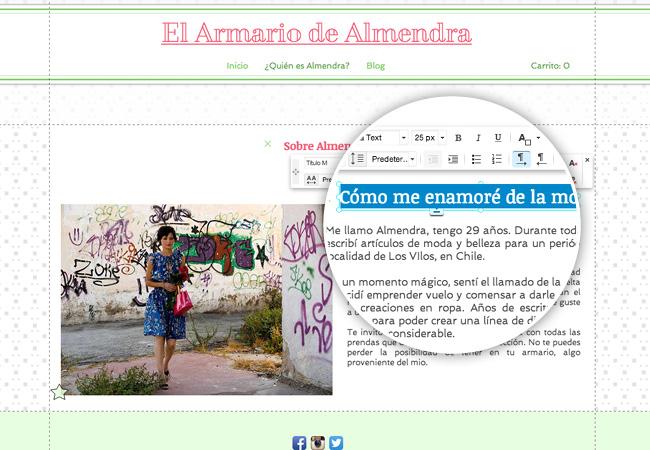 Captura de pantalla del Editor de Wix agregando un Blog