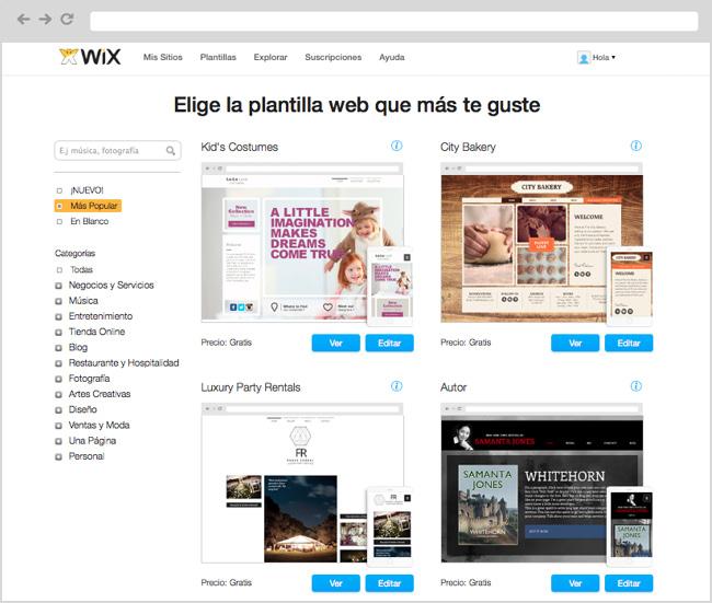 Captura de pantalla del sitio de plantillas personalizables de Wix.com