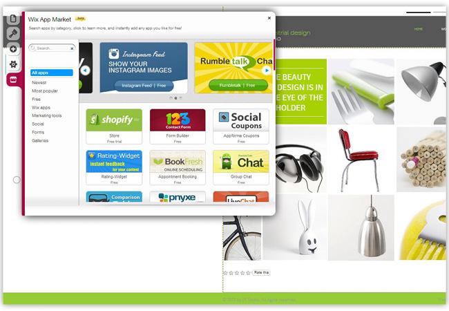 Captura de pantalla del Wix App Market