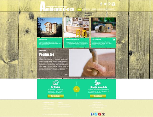 Captura de pantalla del sitio web de Ambiente D-eco