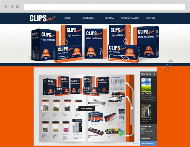 Screenshot del sitio web de Clips New en Portugues