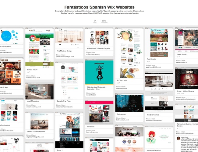 Tablón de Wix en Pinterest