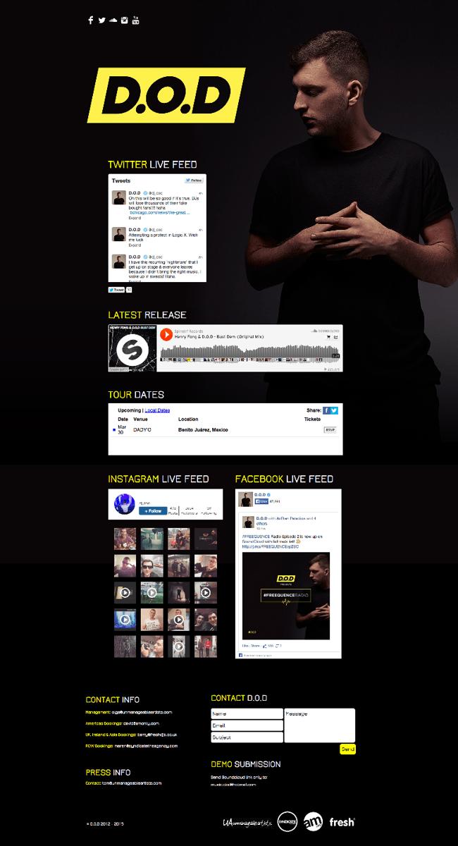 Captura de Pantalla de la página web DJ D.O.D