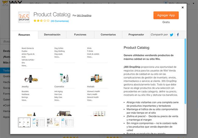 Captura de Pantalla de 365 DropShip Product Catalog