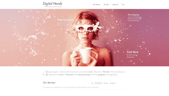 Homepage de Digital Hands