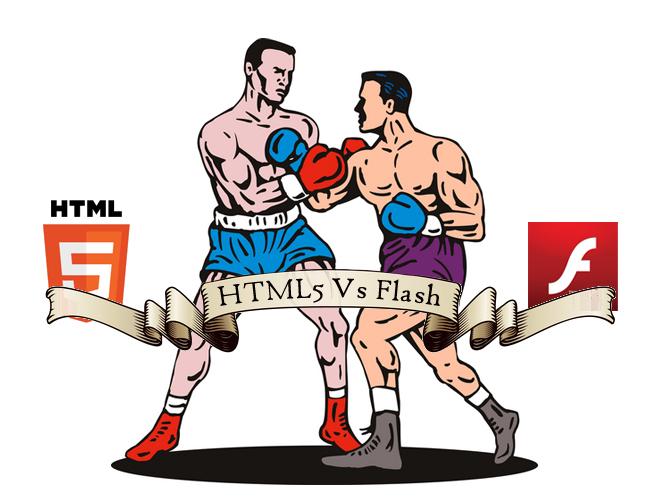 Dos boxeadores representan el HTML5 y el Flash