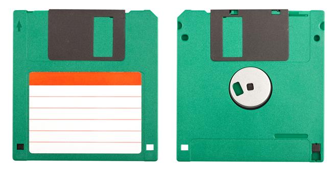 Dos antiguos diskettes verdes