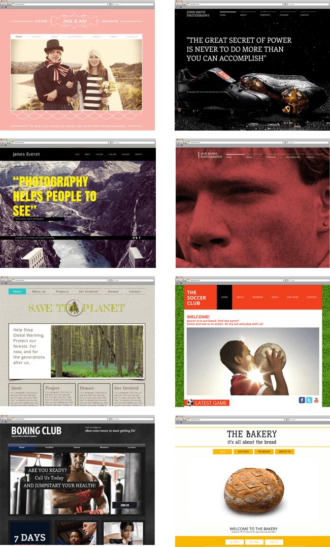 Collage de variedad de plantillas Wix en HTML5