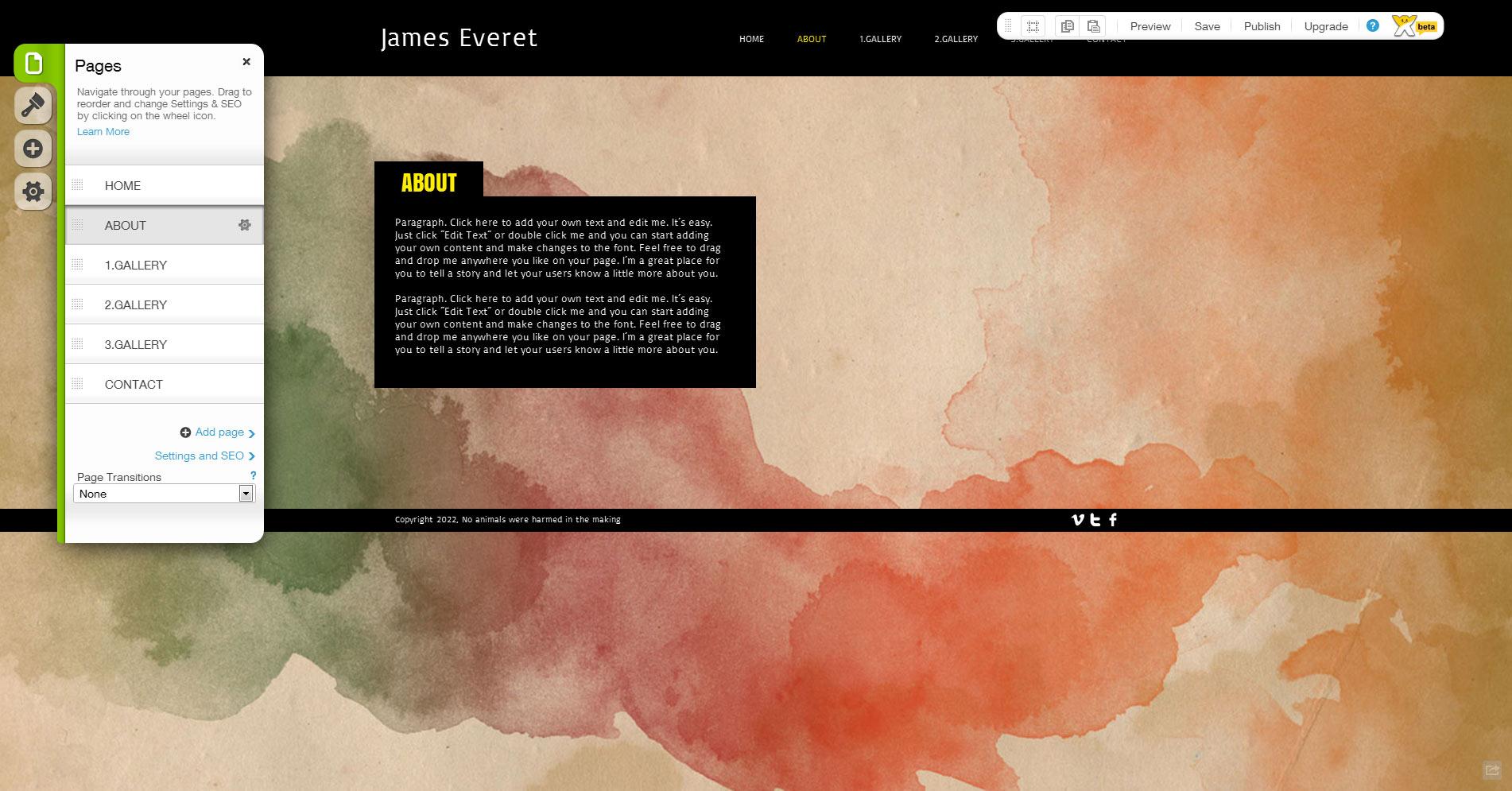 Ejemplo del editor WIX HTML5