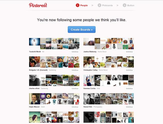Página en Pinterest donde te relacionas con otros usuarios