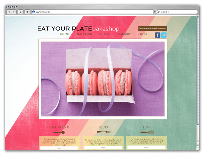 Página Web HTML5 Wix de Eat your Plate Bakeshop