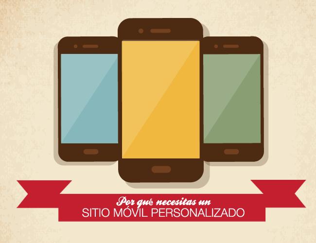 Tres smartphones con cartel: Por qué necesitas un sitio móvil personalizado