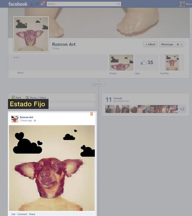Ejemplo de estado de Facebook fijo