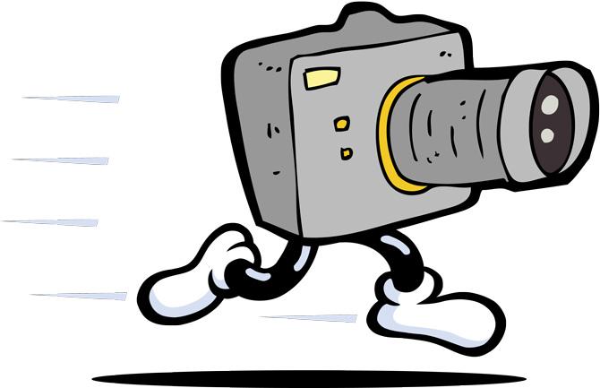 Ilustración de cámara con piernas