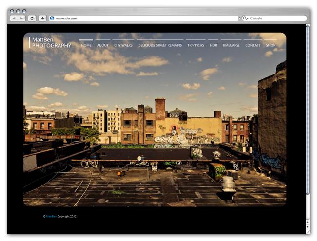 Sitio Wix de Matt Ben Photography