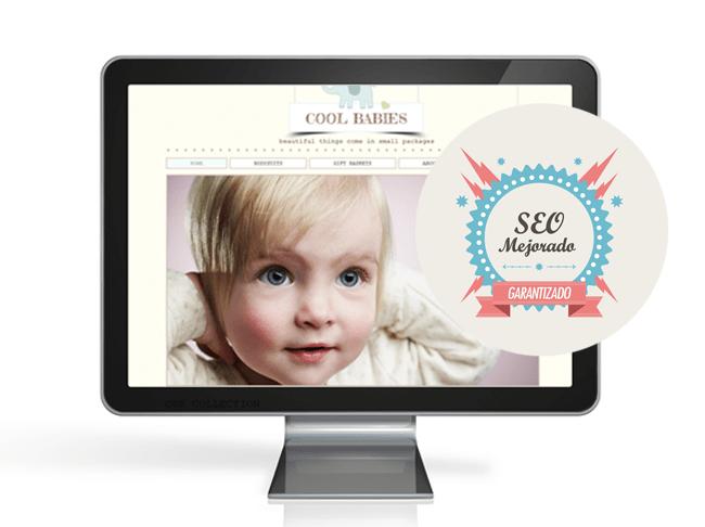 Monitor muestra a un bebé y dice: SEO Mejorado