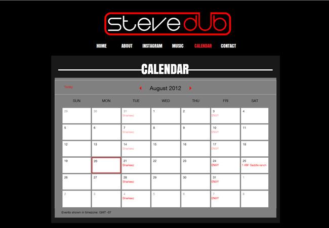 Steve Dub agregó el Calendario Google a su Sitio