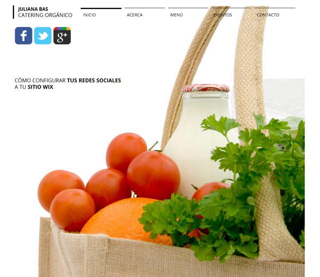 Captura de página web de catering